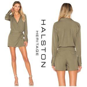 ec7d0a3eefb7 Halston Heritage Pants - NWT Halston Heritage Flowy Twill Faux Wrap Romper